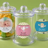 Baby Shower Personalized expressions collection clear acrylic apothecary jar with lid