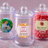 Anniversary, Birthday, Sweet 16 Personalized expressions collection clear acrylic apothecary jar wit