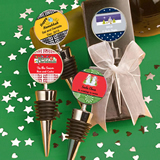<em>Personalized</em> Wine  Bottle Stopper Favors - Holiday Themed