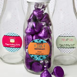 Personalized classic glass milk bottles - birthday design