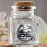 Anniversary, Birthday Personalized Metallics Collection square clear glass treat jar