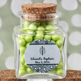 Personalized Expressions Collection square clear glass treat jar