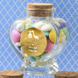 Baby Shower Personalized Metallics Collection heart shaped glass jars