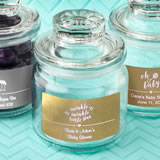 Baby Shower Personalized Metallics collection glass jar with sealed cover