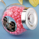 Personalized expressions collection large Candy jar with a silver plastic vacuum plated silver seal