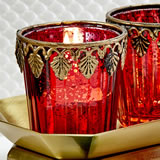 Red Mercury glass East Asian themed   Candle votive