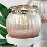Pink ombre vintage mercury glass votive candle holder