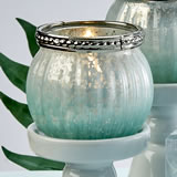 Mint green ombre vintage mercury glass  votive candle holder