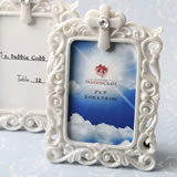 Memorial Baroque style white frame with Cross detail