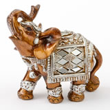 Mahogany with gold accents elephant - small size