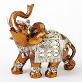 Mahogany with gold accents elephant - large size