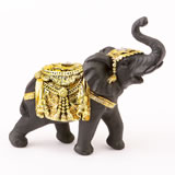 Ebony with gold accents elephant - medium size