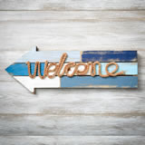 Welcome arrow wood plaque with rope from gifts by fashioncraft