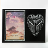 silver angel wings on black 4 x 6 frame
