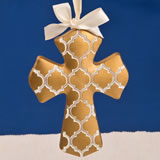 Gold Hampton Link Design Cross Ornament