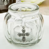 Cross themed clear glass round globe candle holder from fashioncraft