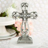 Memorial Large pewter cross statue with antique accents