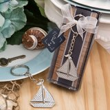 Nautical themed silver Sailboat key chain from fashioncraft