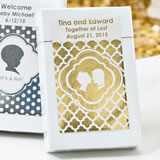 Personalized Metallics Collection playing cards favors in box