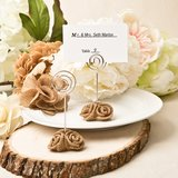 Burlap rose design placecard holder and photo holder