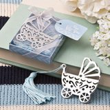 Silver metal baby crib design book mark with blue tassel