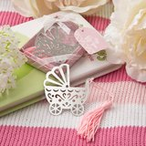 Silver metal baby crib design book mark with pink tassel