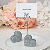 Heart themed silver glitter place card holder from fashioncraft