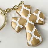 Gold Cross Key Chain With A Hampton Link Design