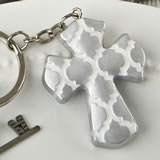 Silver Cross Key Chain With Hampton Link Design from Gifts By Fashioncraft