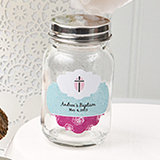 Personalized 3.5 oz glass mason jar with metal screw top - Baby Shower Designs