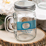 16  ounce personalized Glass mason jar with handle and silver metal screw top