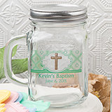 Baby Shower Personalized glass mason jar with handle and silver metal screw top, 16 ounce