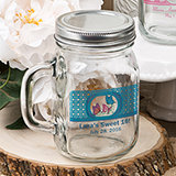 Personalized Glass mason jar with handle and silver metal screw top, 16 ounce
