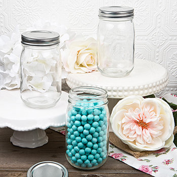 16 Ounce Perfectly Plain Glass Mason Jar with silver screw top