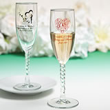 Personalized Champagne Flutes With Twisted Stem: Exclusive Designs