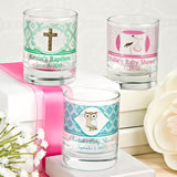 Baby Shower Clearly Custom Votive / Shot Glass with Personalized Sticker - 3.5oz
