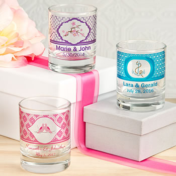 Wedding Clearly Custom Votive / Shot Glass Holder with Personalized Sticker - 3.5oz