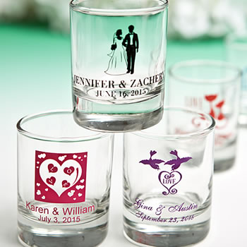 Personalized Wedding Votive / Shot Glasses with Exclusive Designs 3.5oz