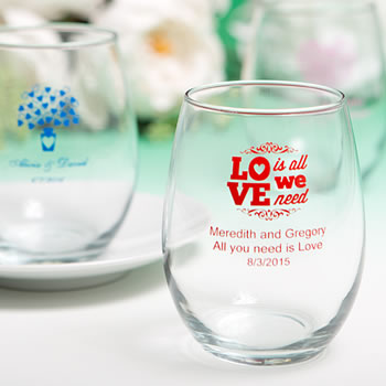 15 Ounce Stemless Wine Glasses with Exclusive Designs