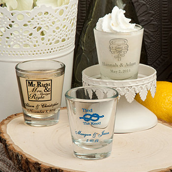Personalized Wedding Shot Glasses - 1 3/4 oz - Design Your Own Collection