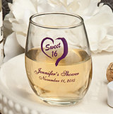 <em>Silk Screen Printed Collection</em>  Petite Stemless Wine Tasting  Glass - 5.5 oz.