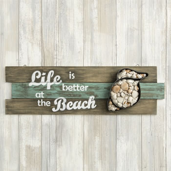 Shell Wall sign - 'Life is better at the Beach' From Gifts By Fashioncraft
