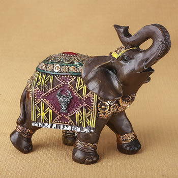 Indian Elephant With Colorful Blanket And Headdress 6