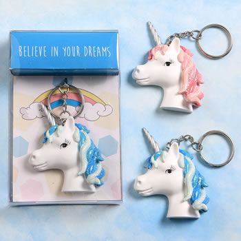 Unicorn key chain - 2 assorted designs in a 12 piece display