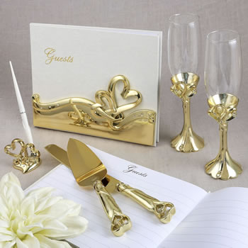 Gold double heart themed wedding accessory set