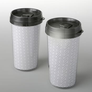 Double wall insulated Coffee cup with silver chevron design from fashioncraft
