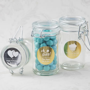 Anniversary, Baby Shower, Birthday Personalized Metallics Collection Apothecary Jar Favor