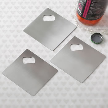Perfectly plain collection Stainless steel coaster and bottle opener