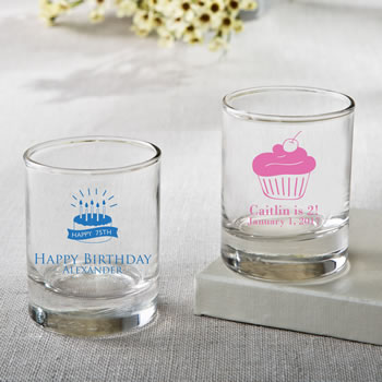 Personalized Shot glass or votive from fashioncraft - birthday design