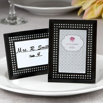 Black frosted Glass picture frame / placecard holder - Nice Price Favors
